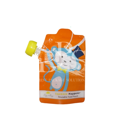 Designed Reclosable Spout Pouch Bag with Bottom Gusset For Baby Drink