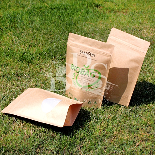 Frosted / Clear Windowed Compostable Pouch Nuts / Snacks Packaging Bags with Zipper Reclosure