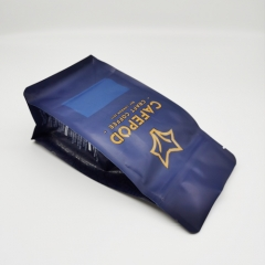 Custom Printed Recyclable Flat Bottom Coffee Pouch with Zipper & Valve